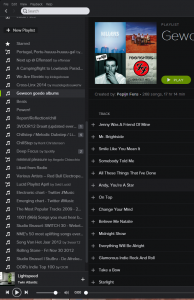 A recognizable view; more and more playlists start entering the sidebar until it's a complete mess.