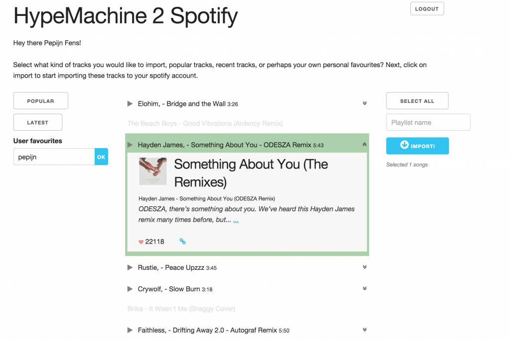 A screenshot from the Hypemachine -> Spotify migration tool